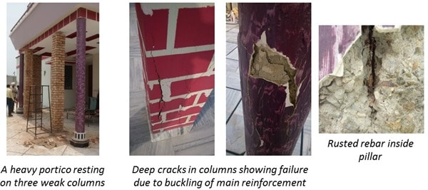 Failure of Reinforced Concrete Structure due to Poor concrete mix and water quality