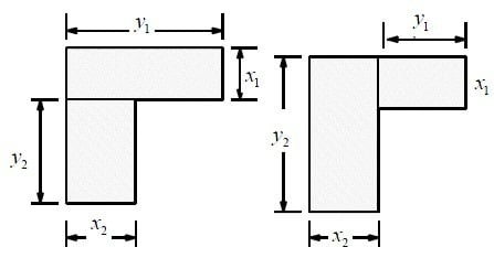 Two possible subdivisions of L-section in rectangles for torsion constant C
