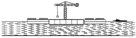 Continuation of Floating Base Construction from Floating Work Barges