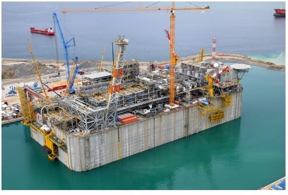 Flooded Dry Dock of Reinforced Concrete Isola Di Porto Levante LNG Terminal