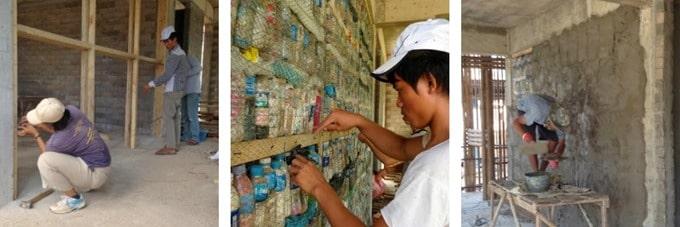 Vertical Bottle Wall Construction