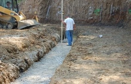 Construction of Concrete Block Retaining Wall Base
