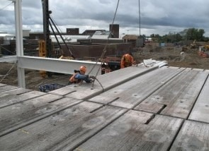 Precast Concrete Slab Placed on Structural Steel Frame