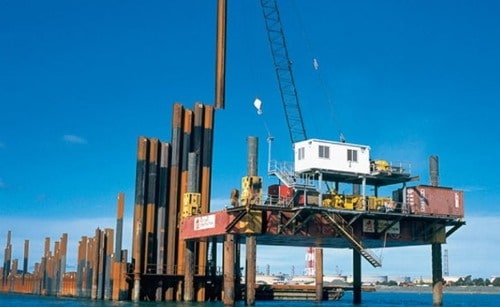 Piles are installed from S 70 jack up barge