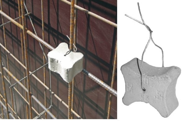 Steel wire used to tie concrete cuboids with steel bras
