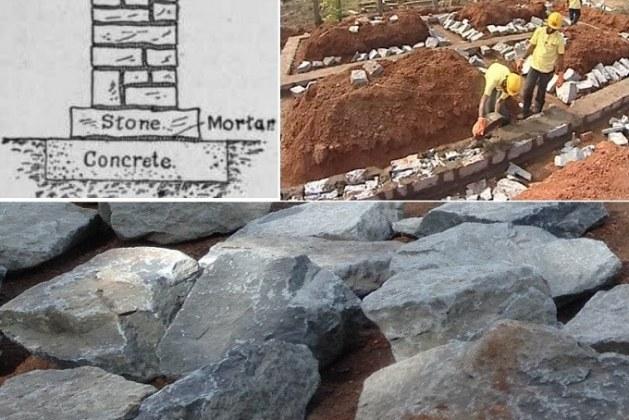 Construction of Stone Masonry Footing
