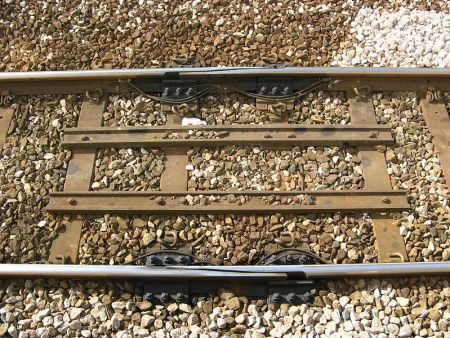 Expansion joint in railway tracks.