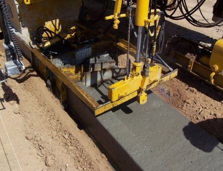 Slipform Concrete Gutter Construction
