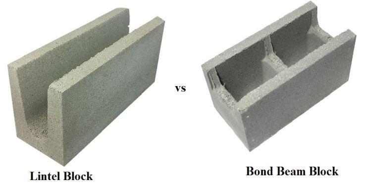 Bond beam Block vs Lintel Block