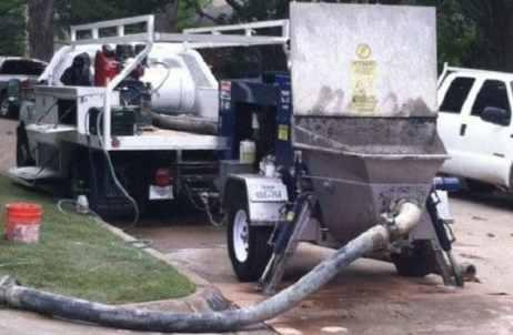 Pumping Concrete Through Pipeline