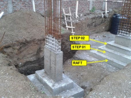 Stepped Isolated Footing