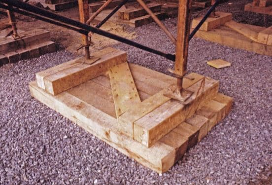 Size of Timber Mudsill Increased to Deal with Lower Bearing Capacity of Soil and to Support Large Construction Loads