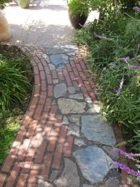 Brick and stone walkway
