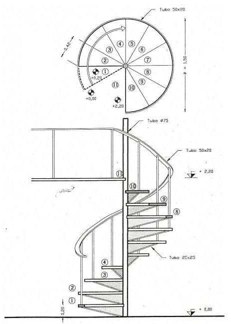 Plan and Elevation Diagram of a Steel Spiral Stair