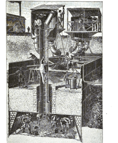 Workers constructing caissons foundation for Eiffel tower