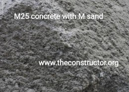 What is the Curing time for M25 Concrete with M sand?