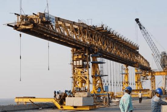 Balanced cantilever method used to construct the Bandra-Worli Bridge