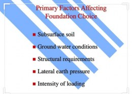 What are the factor affecting in selection of foundation ?