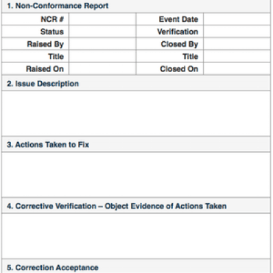 Format for NCR for Quality Control