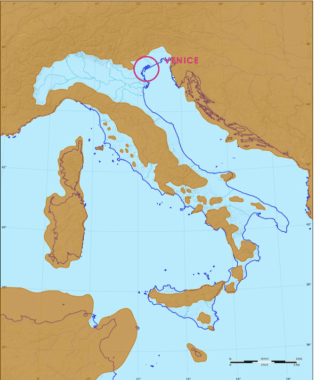 Map of Venice city surrounded by the water