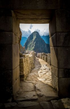 framed view of the holy Huayna Picchu Mountain