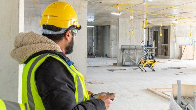 Spot being-remote controlled on construction site