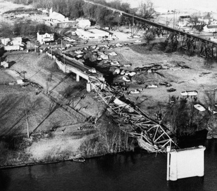 Collapse of tower and the roadway into the Ohio river