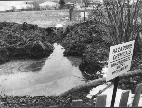 Chemical waste observed at the love canal site