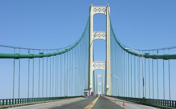 Cables of the Mackinac Bridge are resisting the aerodynamic forces
