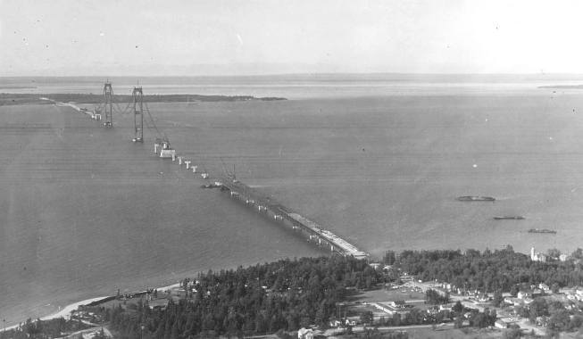 The Mackinac Bridge was constructed to reduce the travel time between upper peninsula and lower peninsula of Michigan state. To cross the Mackinac Strait, the ferry rides used to take more than 1 hour. However, after the construction of the Mackinac Bridge, the crossing time reduced to 10 minutes.
