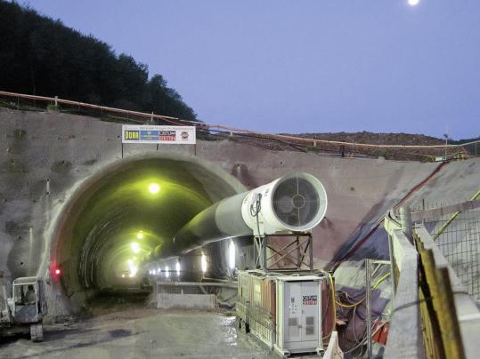 Horizontal shaft provided for the ventilation during the tunnel construction