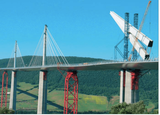 Launching of Millau Viaduct pylon  with the help of a cable-stayed temporary support tower.