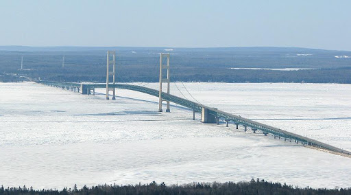 Mackinac Bridge is designed for 4 feet thick ice with a crushing strength of 400 pounds per square inch
