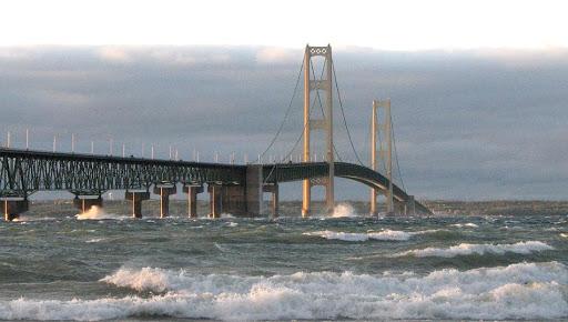Mackinac Bridge is designed for absolute maximum velocity of tides of 4 miles per hour