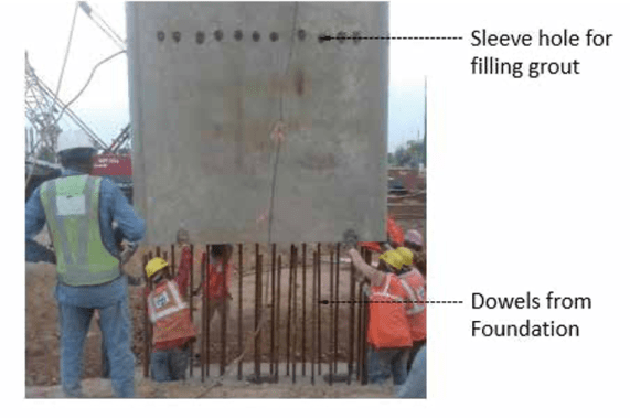 An HY column is lowered over foundation dowels
