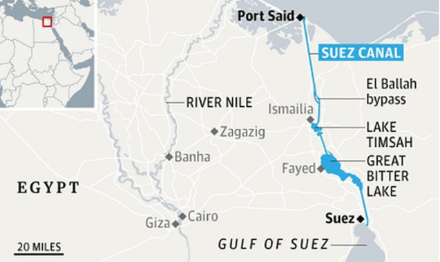 Major areas and their locations along the route of Suez Canal