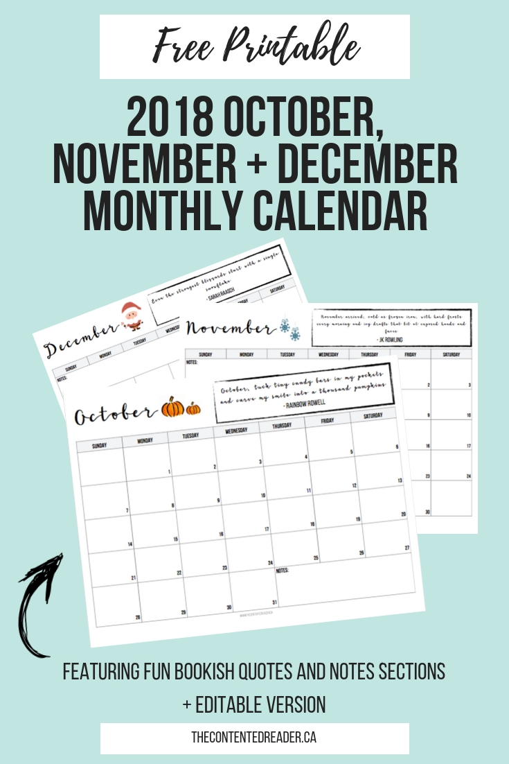2018 Monthly Calendar Printable - The Contented Reader