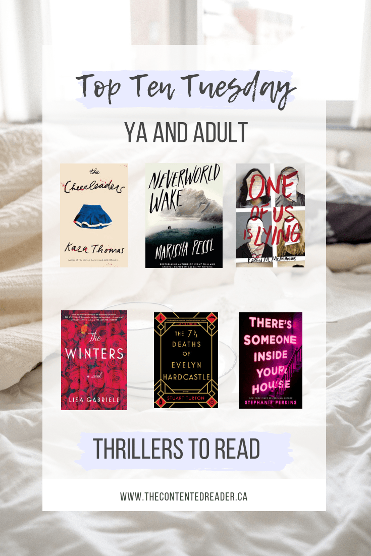 Top Ten Tuesday: YA and Adult Thrillers to Read | The Contented Reader