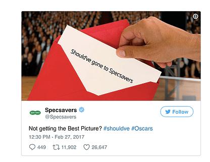 specsavers oscars envelope