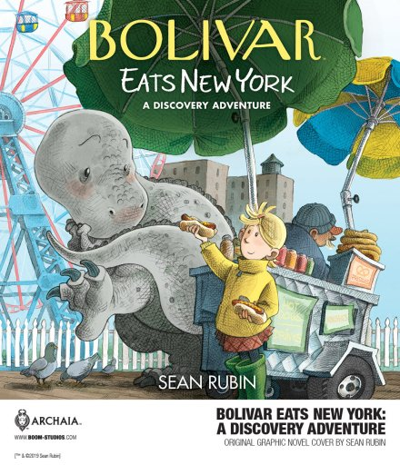 Cover of BOOM! Studios BOLIVAR EATS NEW YORK: A DISCOVERY ADVENTURE graphic novel by Sean Rubin