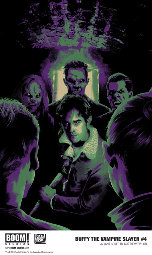 Cover of BOOM! Studios' BUFFY THE VAMPIRE SLAYER #4, artwork by Matthew Taylor. Cover shows Xander Harris surrounded by vampires.