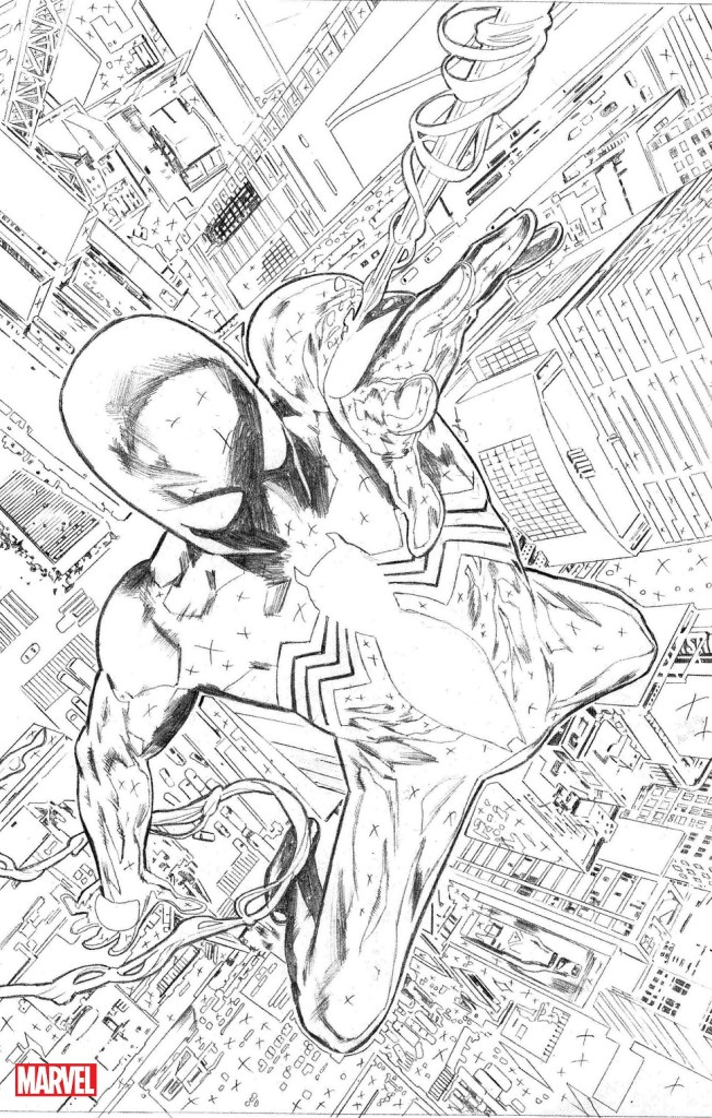 Interior art from Marvel's SYMBIOTE SPIDER-MAN #1 from Greg Land