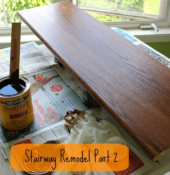 Stairway Remodel Part 2 Sanding And Staining Stair Treads And   Sanding And Staining Stairs   Pine   Stair Railing   Wood Stairs   Stair Case   Stair Risers