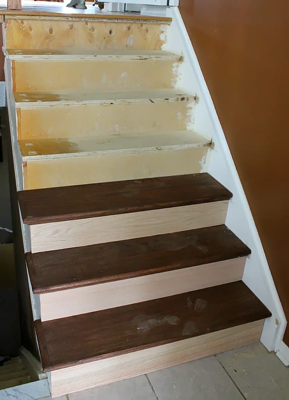 Stairway Remodel Part 3 Installing New Stair Treads And Risers | Installing Hardwood Stair Treads | Stair Stringers | Prefinished Stair Nosing | Staircase Makeover | Laminate | Hardwood Flooring