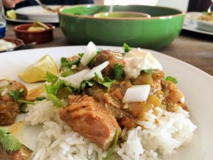 pork chile verde over rice