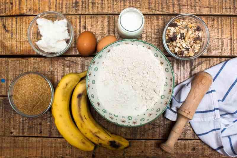 Ingredientes banana bread sin gluten