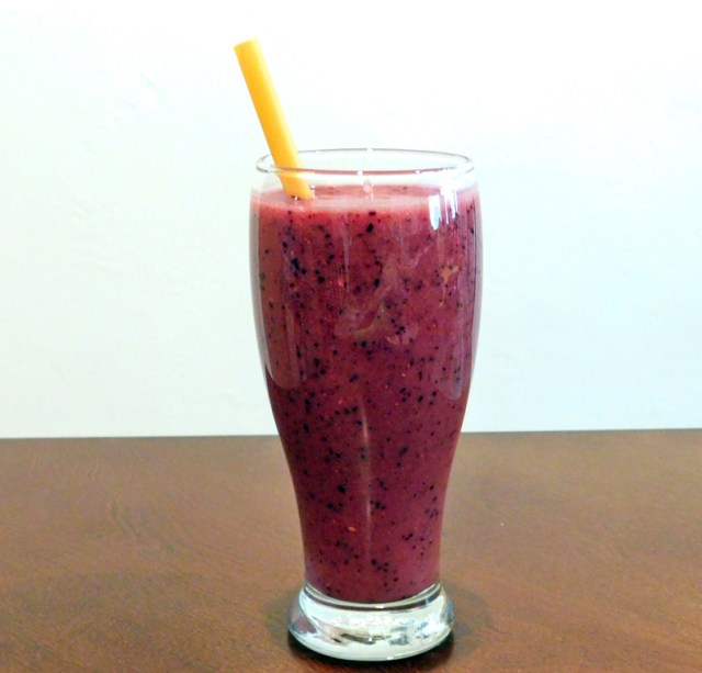 Overload Berry Lemonade Smoothie in a glass