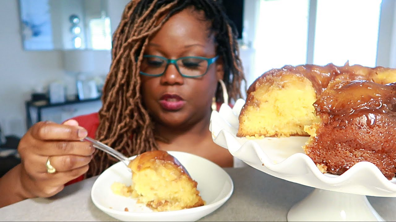 OLD FASHIONED PINEAPPLE POUND CAKE COOKING AND EATING