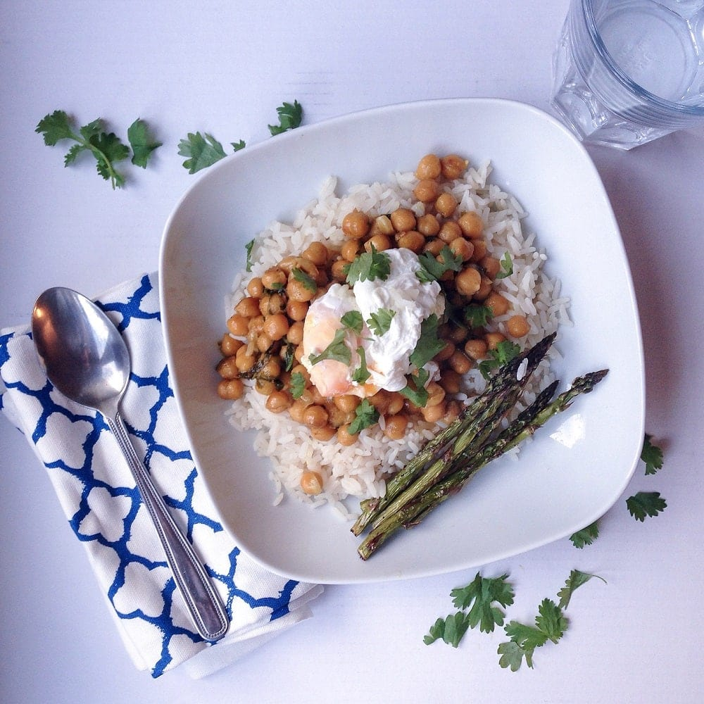 Garlic Butter Coconut Chickpeas with Asparagus