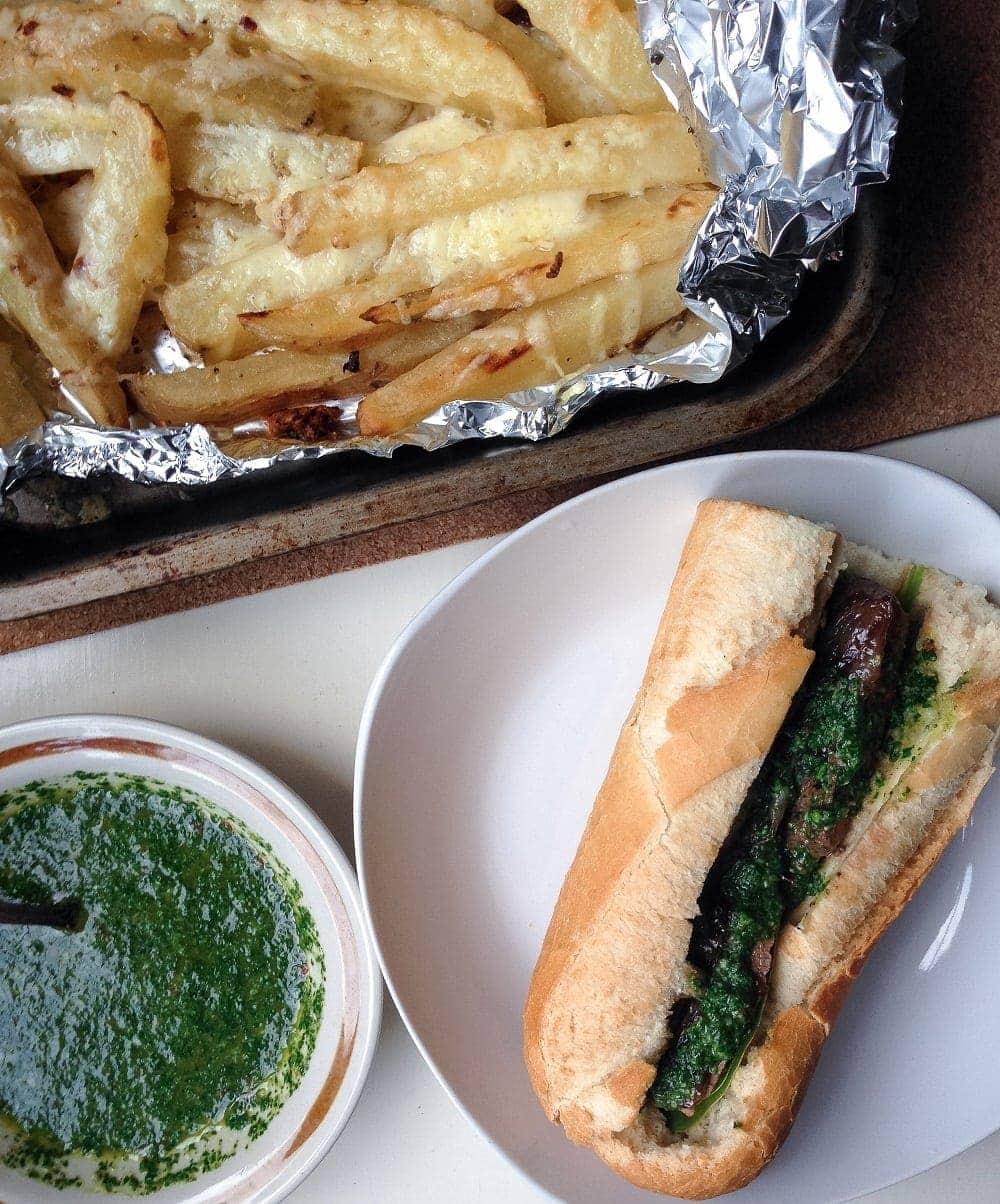 Chimichurri Steak Sandwich With Garlic Wedges